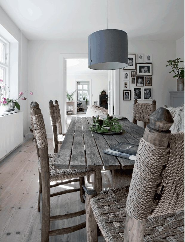 Love the rustic table and the dark grey lampshade