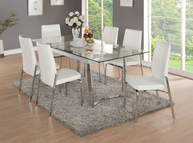Acme 73150 52 7 Pc Osias Chrome Metal And Clear Rectangular Glass Top Dining Table Set Glass Dining Room Table Glass Dining Table Rectangular Glass Dining Table