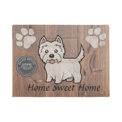 #wood - #Westie dog cartoon character monogram doormat