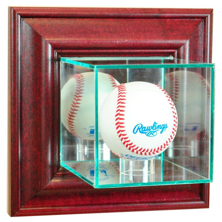 Perfect Cases - Wall Mounted Baseball Display Case - Cherry Finish, Clear
