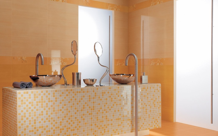 Collection: FAP Crea / Mosaico Miele   Soothing bathroom vanity covered in honey-colored mosaics.
