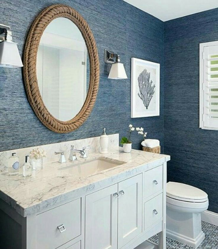 I love this navy blue and white bathroom For Susan Pinterest