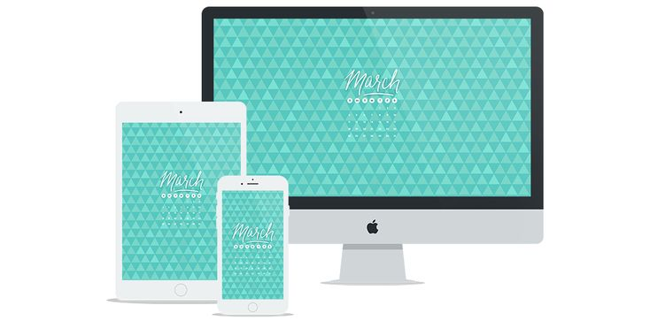 Free Digital Wallpaper for March 2018 Featuring Teal Triangle Pattern & Calendar