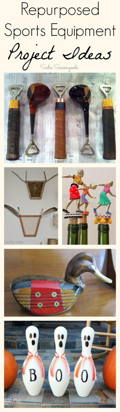 Got any old or unused sports equipment in your garage / closet? Look no further than this collection of 20+ repurpose and upcycle DIY project ideas- including hockey, tennis, baseball, football, fishing, golf, ballet...and even the trophies and medals you bring home! Fun collection by #SadieSeasongoods / www.sadieseasongoods.com