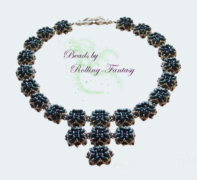 """Collier """"Rani"""" in Pastel-Petrol und Silber von Beads by Rolling-Fantasy auf DaWanda.com"""