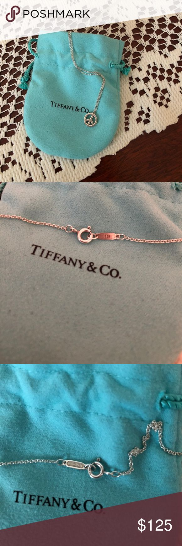"""Tiffany & Co. Delicate Peace sign necklace Tiffany & Co. Peace sign necklace. Gently used but like new with little wear or scratches. 16"""" chain,  .925 Sterling silver. Comes with Tiffany & Co. shammy pouch. Tiffany & Co. Jewelry Necklaces"""