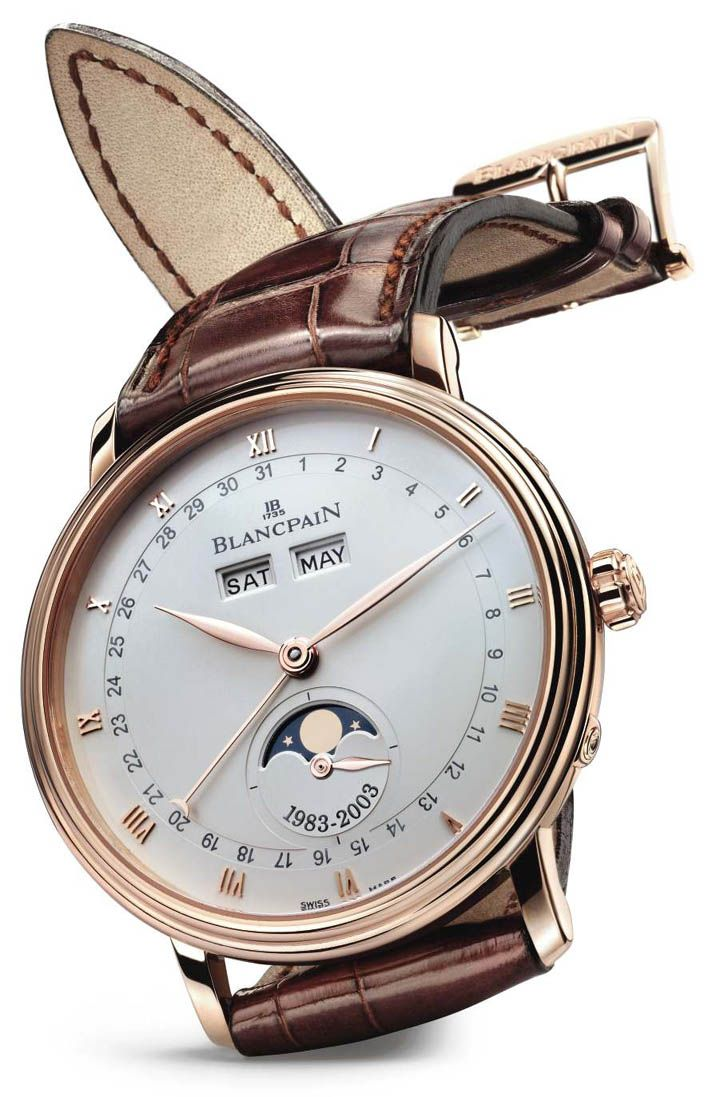 Blancpain Moon Phase Watch.  In 1983, in its workshops in Le Brassus, Blancpain developed the world's smallest automatic movement incorporating the phases of the moon, the month, the date and the day of the week.  To celebrate the 20 year anniversary in 2003, Blancpain re-introduced the moon phase watch with new features.