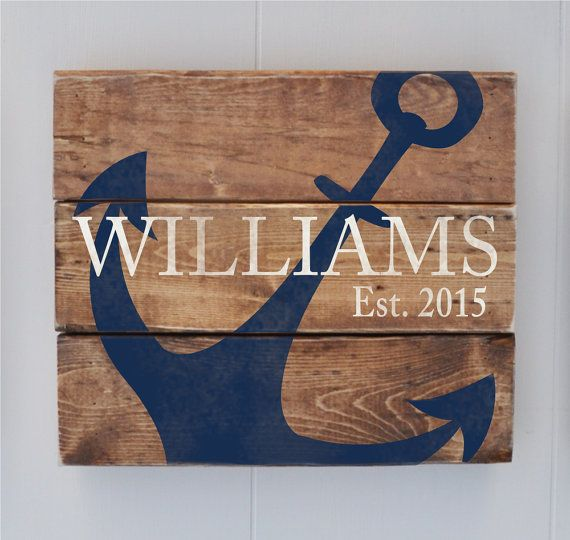 Personalized Family sign, Established Sign, Last Name Sign, Anchor Sign, Anniversary Gift, Wedding Gift, Coastal Decor, Beach House Sign