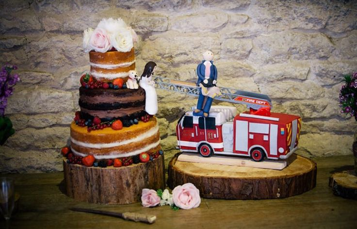 Perfect wedding cake for a firefighters rustic theme wedding