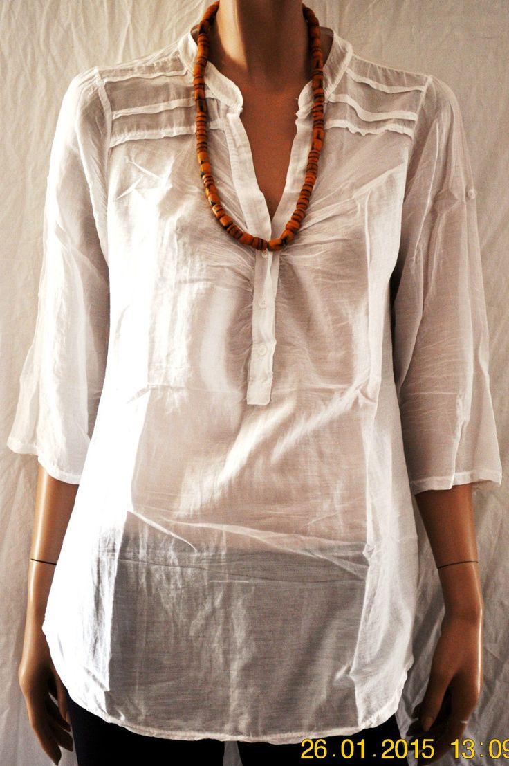 So Simple So Perfect..Woman White Shirt Cotton Silk Blended Size M Camicia Tunica T-Shirt Donna Bianco Manica 3/4 Cotone Misto…
