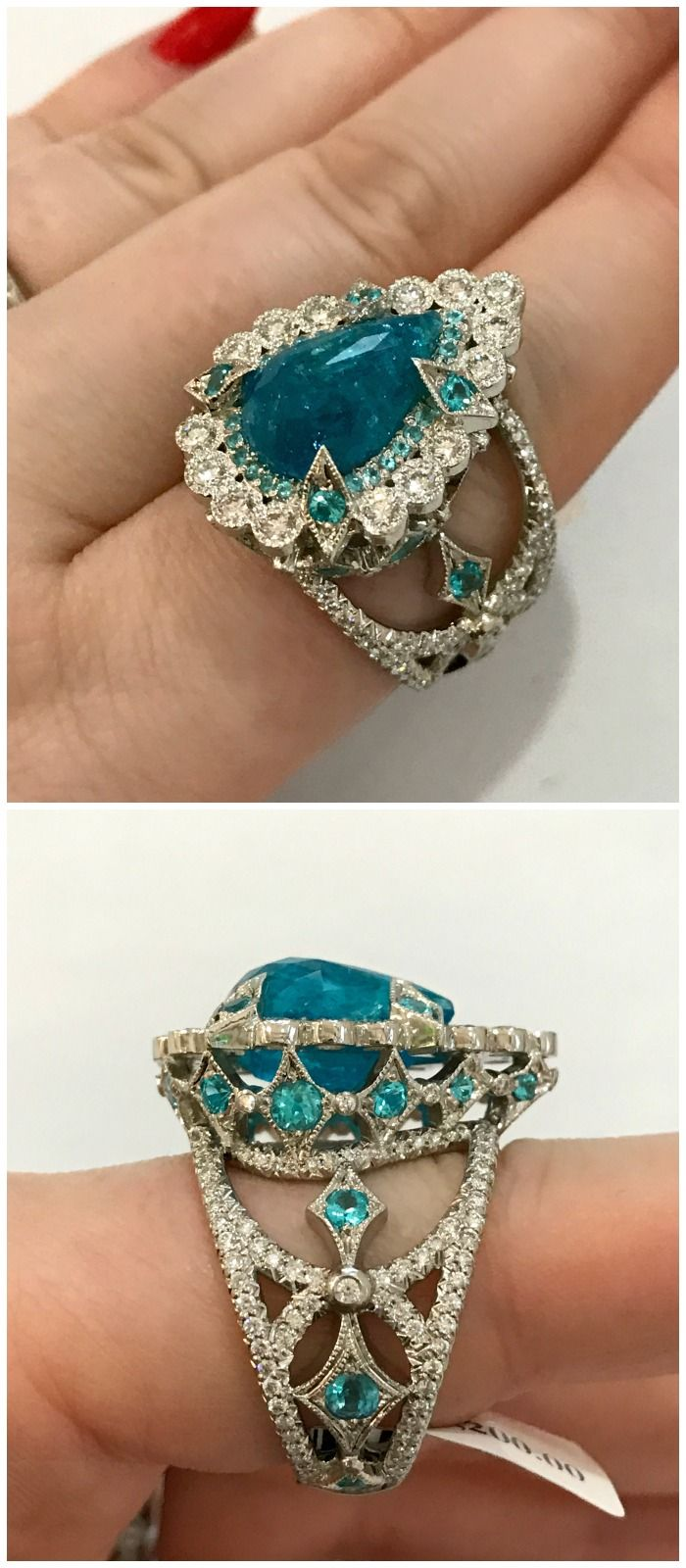 A wildly beautiful Paraiba tourmaline and diamond ring by Erica Courtney.