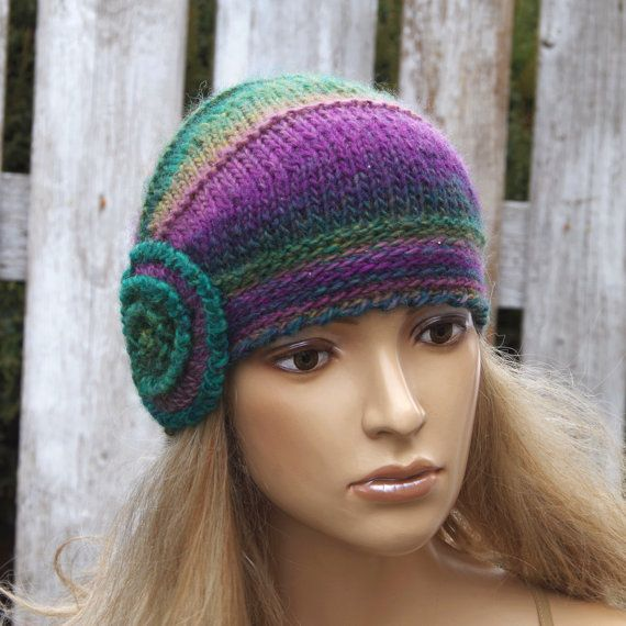 Knitted flower hat Purple Knitted Beanie Shadows purple by Degra2