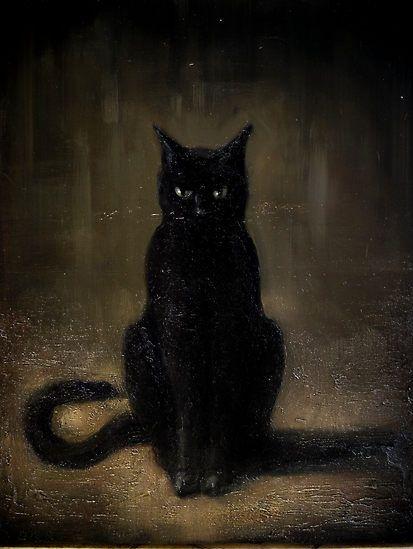 Kain White (Australian, b. 1981) - Black Cat  Looks like my little Luna.