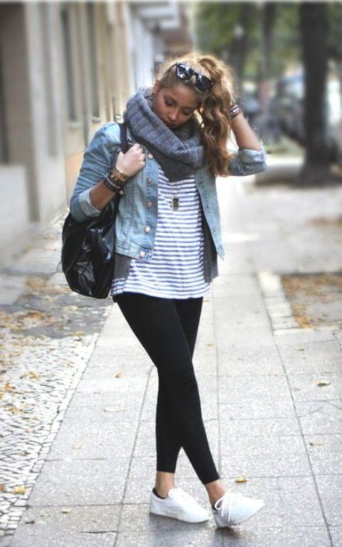 stripped tee with jacket, Back to college girls outfits http://www.justtrendygirls.com/back-to-college-girls-outfits/