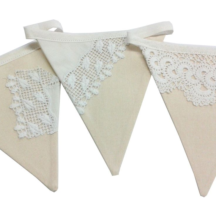 Calico vintage lace handmade bunting from http://www.karendavey.co.uk/product/calico-bunting/