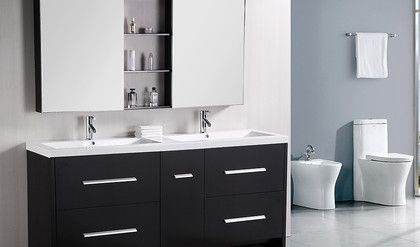 Design Element Perfecta 72' Double Sink Vanity Set in Espresso