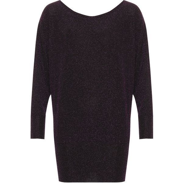 WearAll Plus Size Oversized Lurex Batwing Sleeve Top (£23) ❤ liked on Polyvore featuring tops, purple, metallic top, plus size batwing tops, long off the shoulder tops, off the shoulder tops and purple top