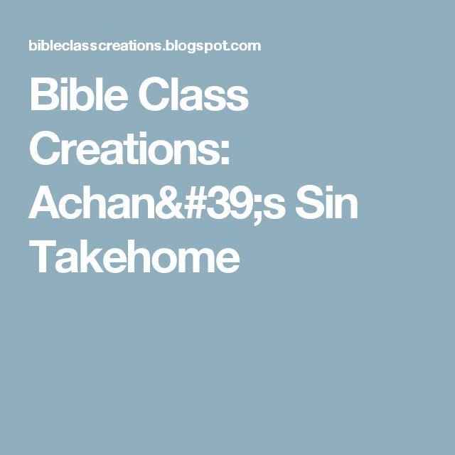 Bible Class Creations: Achan's Sin Takehome
