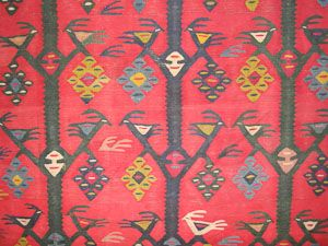 A very rare 18th century antique Sarkoy Thracian kilim woven in North East Greece, decorated with birds and tree of life.