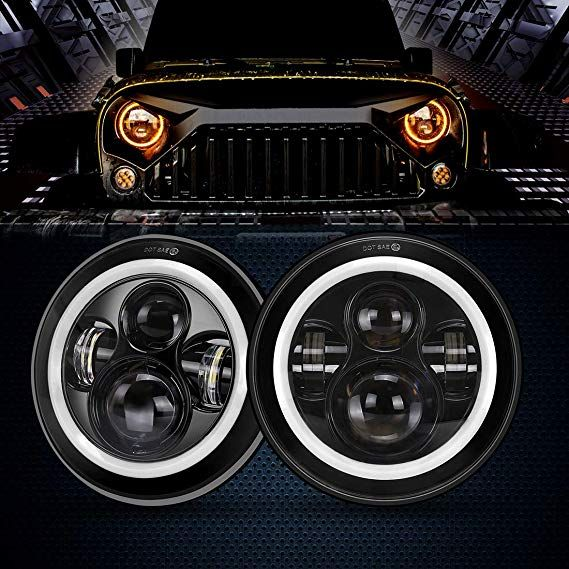 <b>7 Inch</b> Cree <b>LED Headlights</b> with White Halo Ring Angel Eyes+ ...