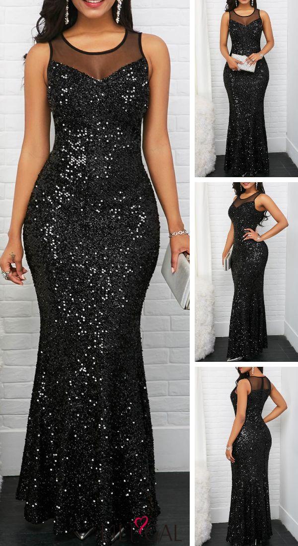 USD39.63   Mesh Panel Black Sleeveless Sequin Maxi Dress   #liligal #dresses
