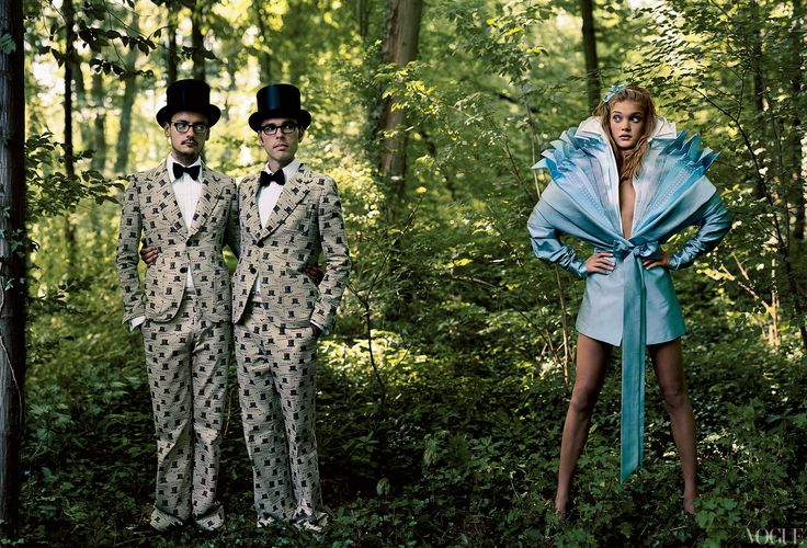 """TWEEDLEDUM AND TWEEDLEDEE""""If you think we\'re alive, you ought to speak,"""" said the one marked Dee. Alice (Natalia Vodianova), in a Viktor & Rolf multilayered silk dress, stared as The Tweedle duo spouted nonsensical tongue twisters. Rolf Snoeren, left, and Viktor Horsting wear matching suits and bow ties of their own design."""