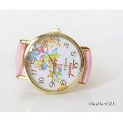 Veselé dámske hodinky s ružovým remienkom z eko kože :)