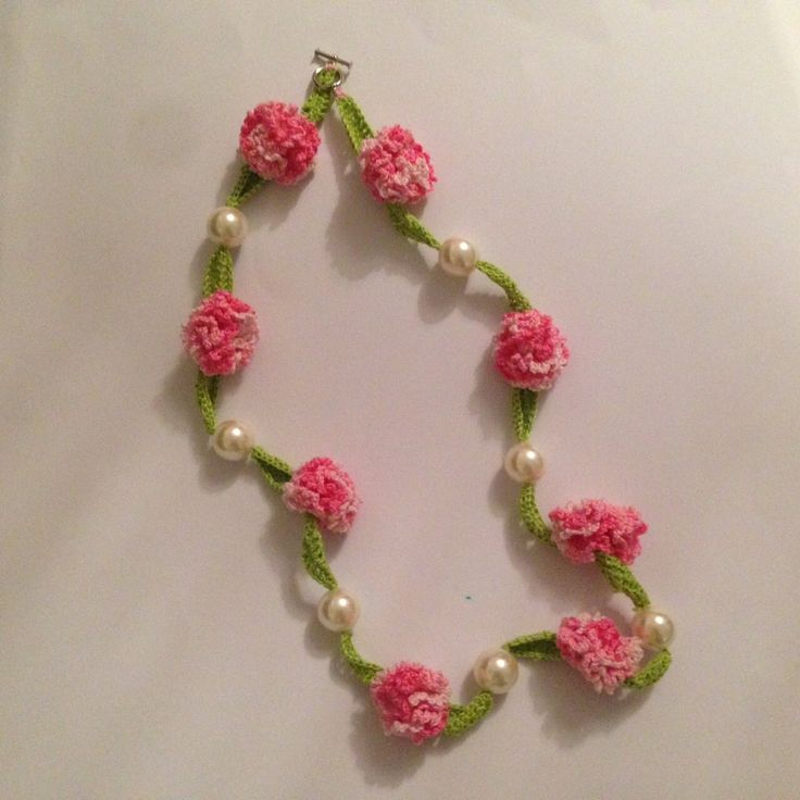 How to crochet beautiful necklace with flowers and pearls