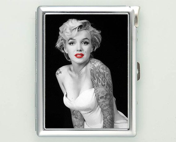 Marilyn Monroe Tattooed Cigarette Case with Lighter Wallet CGC1405    ***********************************  We sell only case & lighter. We do not