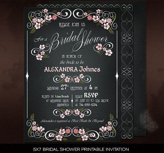 #Floral #Chalkboard #Chic #Vintage #Bridal #Shower #PRINTABLE #Invitation - #Elegant #DIY Invitation by Ruxique