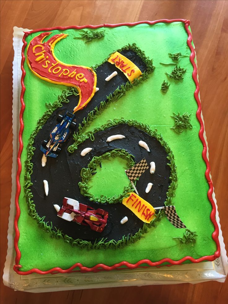 Hot Wheels Race Car 6th Birthday Cake                                                                                                                                                                                 More