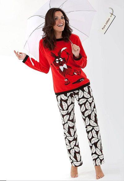 Pijama invierno mujer Massana modelo HOJAS. http://www.perfumeriaelajuar.com/homewear/pijama-mujer-invierno-/30/