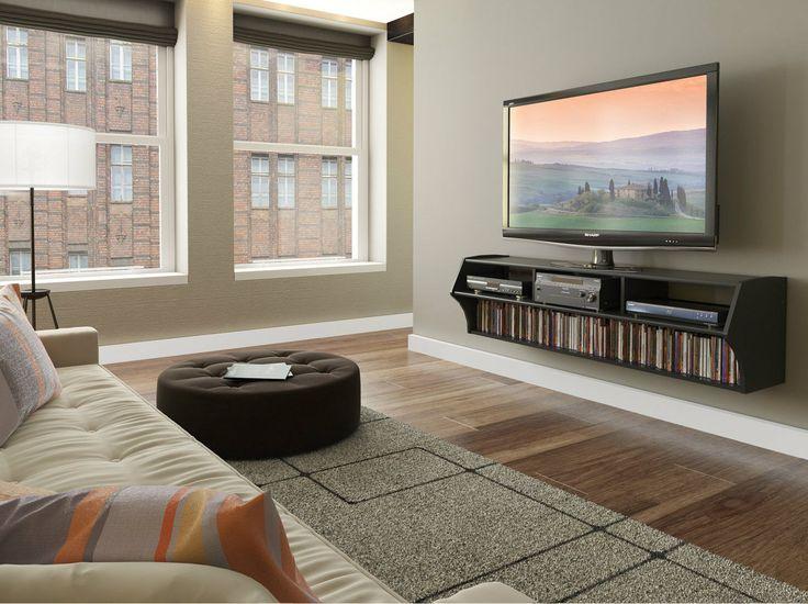 Floating TV Stand Black Modern Entertainment Center Cabinet Flat Screen Shelf | eBay