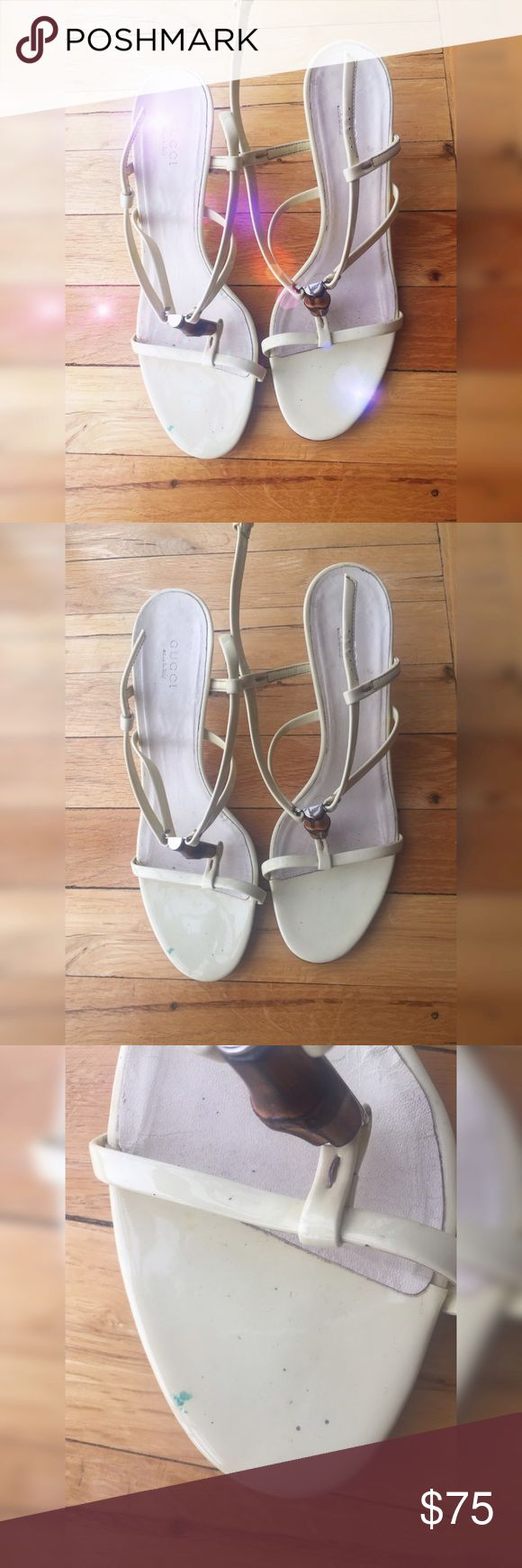 """Off White Leather Gucci Wooden Pump Heels These shoes do show signs of wear. There are some marks on the shoe. The Heels are in decent condition. Some of the Leather is peeling. Heel height: about 3"""" inches. Overall 4/10 condition. Willing to negotiate price. Gucci Shoes Heels"""