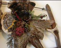 Northwoods Memories Antique Buck Saw Deer Antler Turkey Feathers Fairy Shelf Pinecone Wall Hanging #6