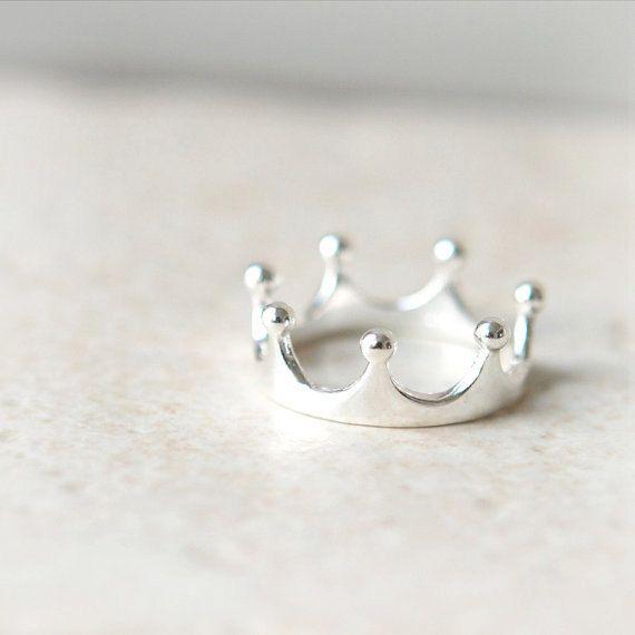 Einfache Krone Ring in Sterling silber / einstellbare von laonato