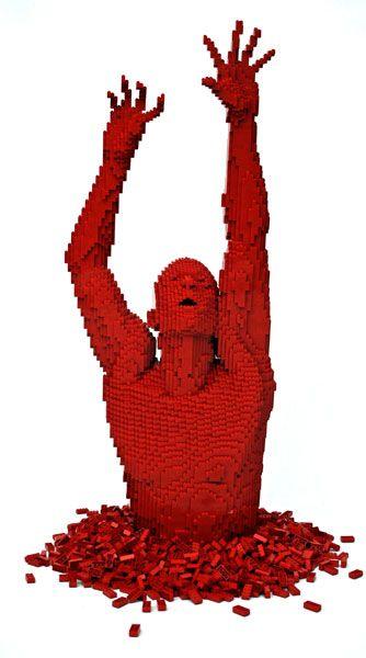 .Amazing Stuff, Nathan Sawaya, Red Lego, Lego Sculpture, Lego Man, Lego Art, Amazing Sculpture, Lego Creations, Amazing Lego