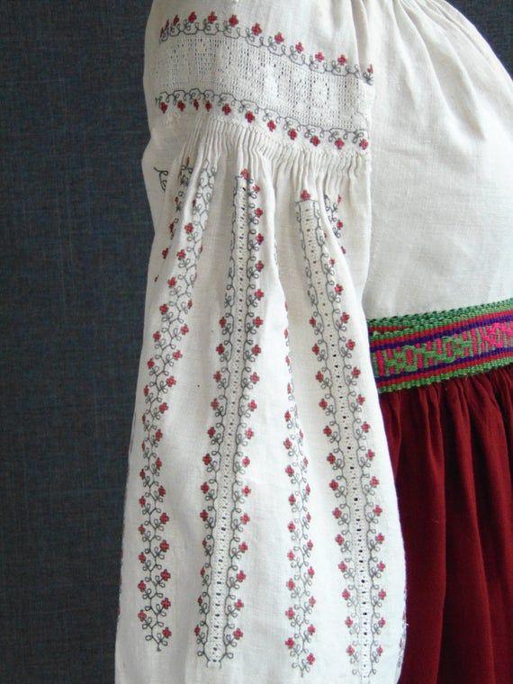 Vintage Dress Ukrainian Vyshyvanka folk embroidered Antique clothing Vintage fashion