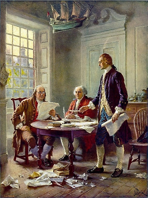 Writing the Declaration of Independence, 1776  Thomas Jefferson (right), Benjamin Franklin (left), and John Adams (center) meet at Jefferson's lodgings, on the corner of Seventh and High (Market) streets in Philadelphia, to review a draft of the Declaration of Independence.Artist: Jean Leon Gerome Ferris (1863–1930)