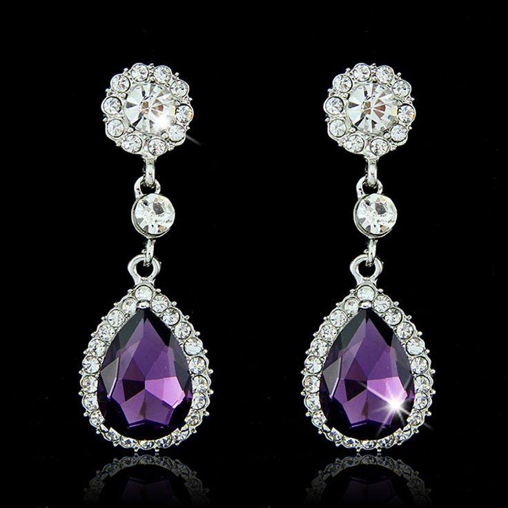 Fashion Earrings Crystal Dangle Earrings Big Flower Drop Earrings for Women Long Earrings with Stones