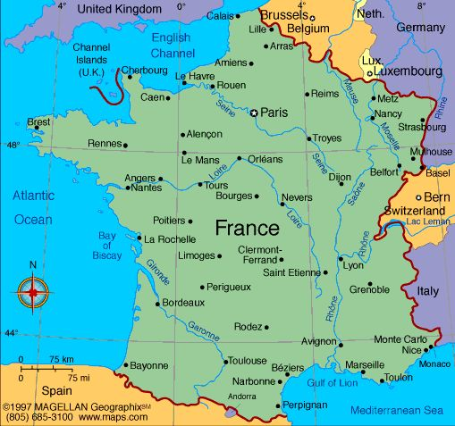 France is located on the continent of Europe, It has a population of 66.6 million. The language is french.