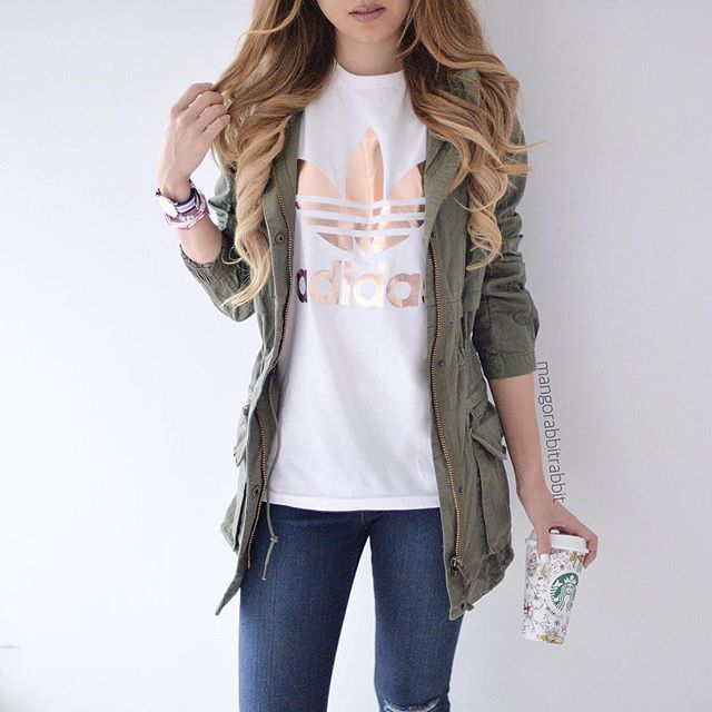 gold adidas shirt, dark wash denim jeans, green utility jacket, watch, bracelet, Starbucks cup, ootd, (@mangorabbitrabbit)