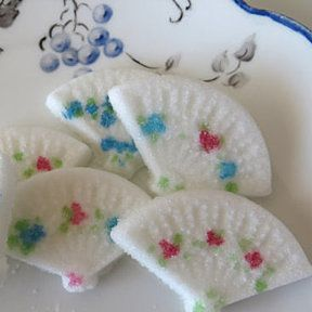 Charming Painted Fan-Shaped Sugar Cubes for Tea Parties, Weddings, or Events by MyCookshelf on Opensky