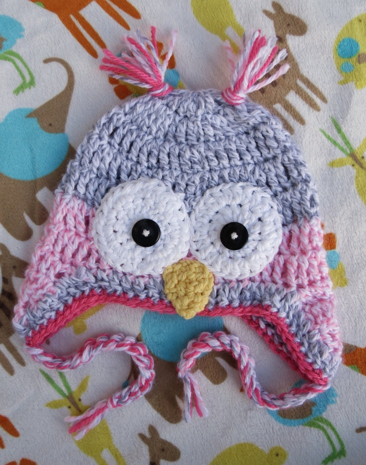 Owl crocheted hat/ etsy