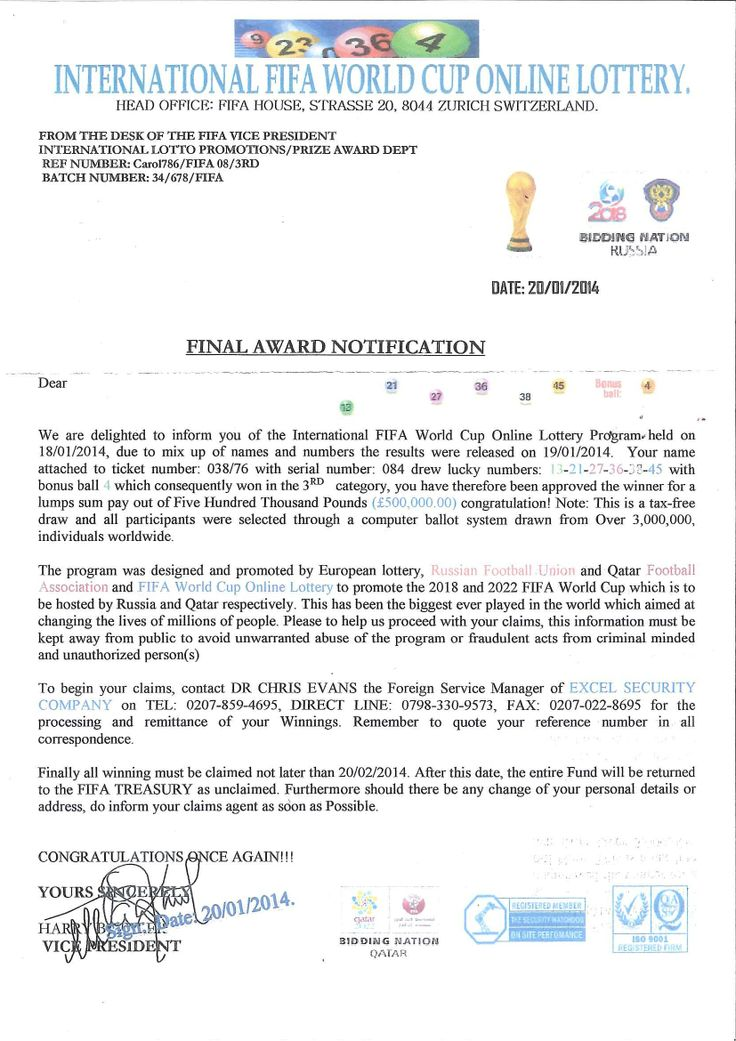 International FIFA World Cup Online Lottery scam letters are being circulated