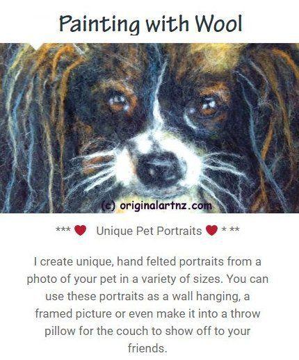 All portraits made with the finest New Zealand wool, shipped worldwide. Contact us for details. originalartnz.com.     #feltedpetportraits #felting #petpics #wetfelt #needlefelt #handmade #animalart #handmade
