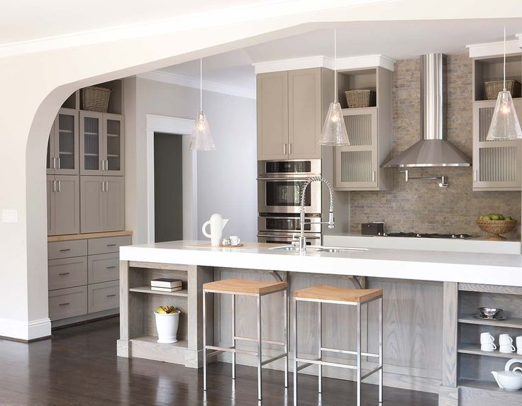 Kitchen with thick corian counters and light lime washed for Kitchen cabinets 101