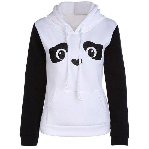 Panda Pattern Hooded Long Sleeve Hoodie ($13) ❤ liked on Polyvore featuring tops, hoodies, panda bear hoodie, panda top, white hooded sweatshirt, sweatshirt hoodies and white long sleeve top