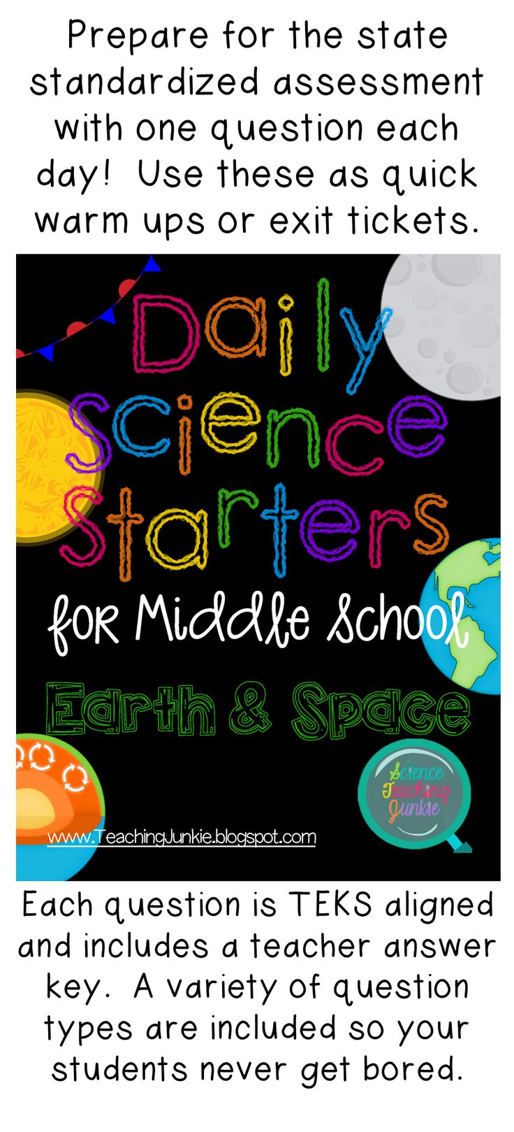 55 quick daily warm-ups or exit tickets that are TEKS aligned!  Prepare your students for the state standardized assessment one day at a time with this product that is part of a Daily Science Starters series from the Science Teaching Junkie.