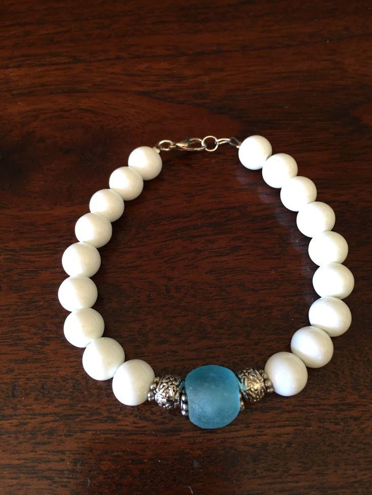 White and turquoise bracelet